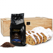 500g Dresdner Stollen® in premium wooden box with 250g Dresden coffee
