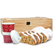 "500g Original Dresdner Christstollen® in wooden box with coffe-to-go cup ""Norweger"""