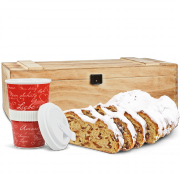 "500g Original Dresdner Christstollen® in wooden box with coffe-to-go cup ""Amore"""
