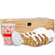 "500g Original Dresdner Christstollen® in wooden box with coffe-to-go cup ""Christmas"""