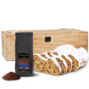 500g Dresdner Stollen® in premium wooden box with 100g stollen tea