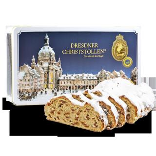 1000g Original Dresdner Christstollen ® in weißer Geschenkdose