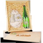 1000g Dresdner Christstollen und Apfel Zimt Glühwein in Präsentbox aus Holz