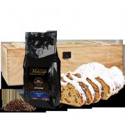 500g Dresdner Christstollen in Premium Holztruhe mit 250g Dresdner Kaffee