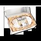 1000g Original Dresdner Christstollen ® in Geschenkkarton - geöffnete Box mit Stollen in Holzwolle